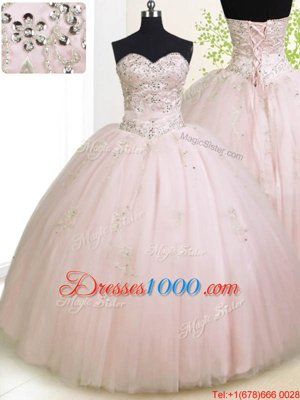 Best Selling Baby Pink 15 Quinceanera Dress Military Ball and Sweet 16 and Quinceanera and For with Beading and Appliques Sweetheart Sleeveless Lace Up