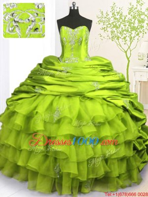 Affordable Olive Green Quinceanera Dress Military Ball and Sweet 16 and Quinceanera and For with Beading and Appliques and Ruffled Layers and Pick Ups Strapless Sleeveless Brush Train Lace Up