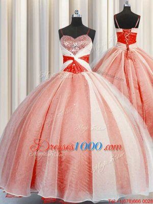 Romantic Orange Red Ball Gowns Spaghetti Straps Sleeveless Organza Floor Length Lace Up Beading and Sequins and Ruching Quince Ball Gowns