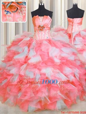 Pink And White Ball Gowns Beading and Ruffles and Hand Made Flower Quince Ball Gowns Lace Up Organza Sleeveless Floor Length