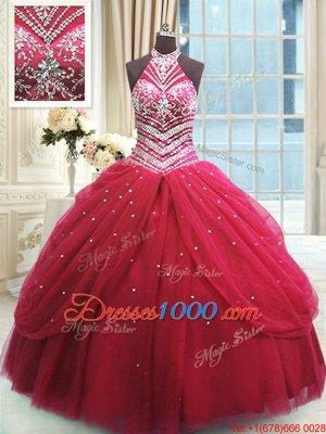 Floor Length Red Sweet 16 Dresses Tulle Sleeveless Beading