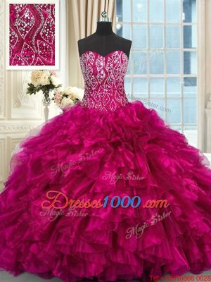 Fuchsia Sleeveless Organza Brush Train Lace Up Vestidos de Quinceanera for Military Ball and Sweet 16 and Quinceanera