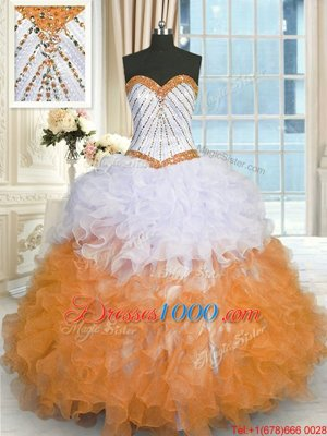 Dramatic Multi-color Ball Gowns Organza Sweetheart Sleeveless Beading and Ruffles Floor Length Lace Up Quinceanera Gown