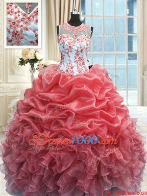 Scoop Watermelon Red Zipper Quinceanera Gowns Beading and Ruffles Sleeveless Floor Length