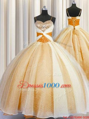 Spaghetti Straps Sleeveless Organza Quinceanera Gowns Beading and Ruching Lace Up