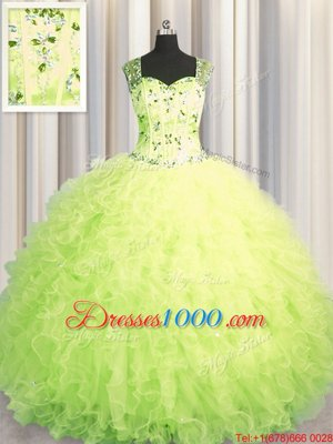 See Through Zipper Up Sleeveless Floor Length Beading and Ruffles Zipper Sweet 16 Dresses with Yellow Green