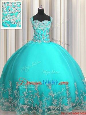 Sweet Sweetheart Sleeveless Quinceanera Dress Floor Length Beading and Appliques Aqua Blue Organza