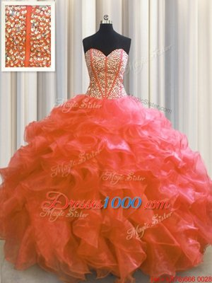 Visible Boning Ball Gowns Quince Ball Gowns Red Sweetheart Organza Sleeveless Floor Length Lace Up