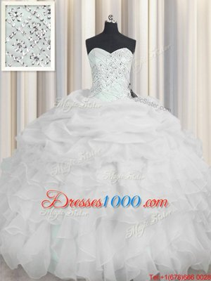 Comfortable Organza Sweetheart Sleeveless Lace Up Beading and Ruffles 15th Birthday Dress in White