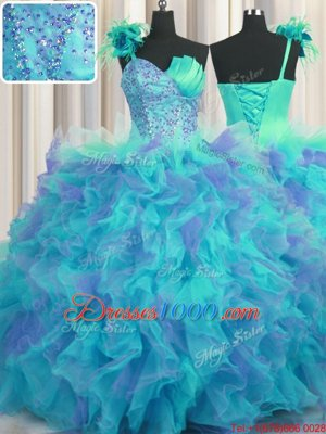 Handcrafted Flower Multi-color Ball Gowns One Shoulder Sleeveless Tulle Floor Length Lace Up Beading and Ruffles and Hand Made Flower Sweet 16 Dress