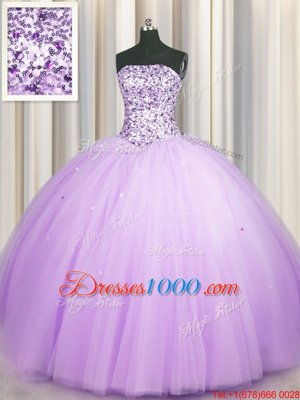 Really Puffy Lavender Sleeveless Floor Length Beading and Sequins Lace Up Quinceanera Gowns