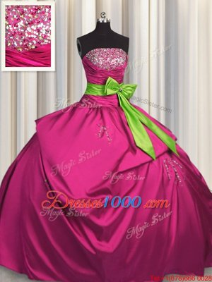 Excellent Fuchsia Strapless Lace Up Beading and Ruching and Bowknot Quince Ball Gowns Sleeveless