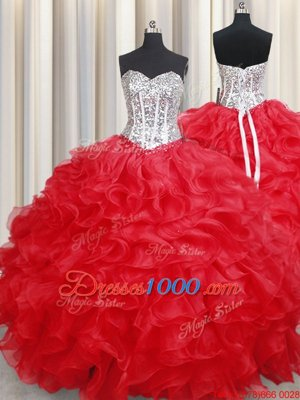 Ideal Pick Ups Visible Boning Ball Gowns Sweet 16 Quinceanera Dress Lilac Sweetheart Organza Sleeveless Floor Length Lace Up