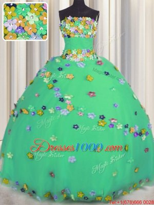 Tulle Strapless Sleeveless Lace Up Hand Made Flower Quinceanera Gown in Turquoise