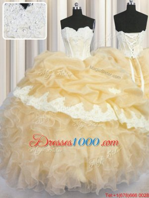 High Quality Organza Sleeveless Floor Length Quinceanera Gowns and Beading and Appliques and Ruffles and Pick Ups