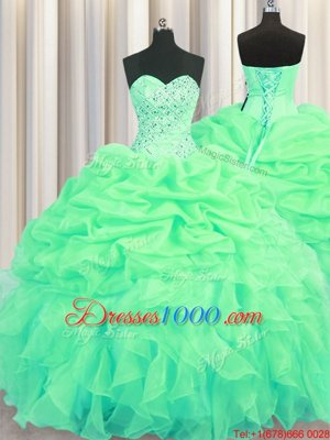 Fine Visible Boning Sleeveless Floor Length Beading and Ruffles Lace Up 15 Quinceanera Dress with Green