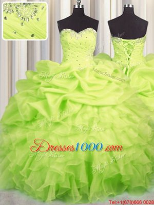 Deluxe Yellow Green Lace Up Sweetheart Beading and Ruffles and Ruching and Pick Ups Quinceanera Gown Organza Sleeveless