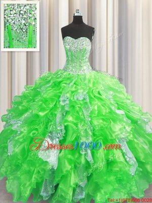 Visible Boning Coral Red Sweetheart Lace Up Beading and Ruffles Quinceanera Gowns Sleeveless