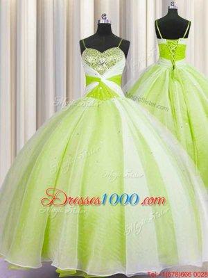 Custom Fit Visible Boning Sweetheart Sleeveless Sweet 16 Dress Brush Train Beading and Ruffles Fuchsia Organza
