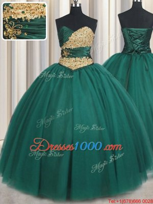 Peacock Green Sleeveless Tulle Lace Up Quinceanera Gown for Military Ball and Sweet 16 and Quinceanera