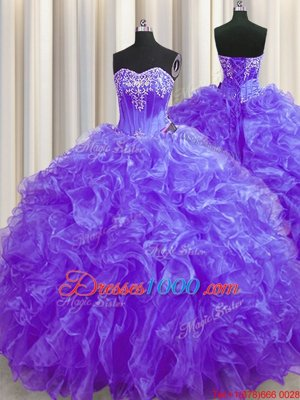Purple Lace Up Quinceanera Dresses Beading and Ruffles Sleeveless Brush Train