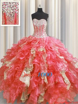 Classical Sequins Visible Boning Floor Length Watermelon Red Ball Gown Prom Dress Sweetheart Sleeveless Lace Up