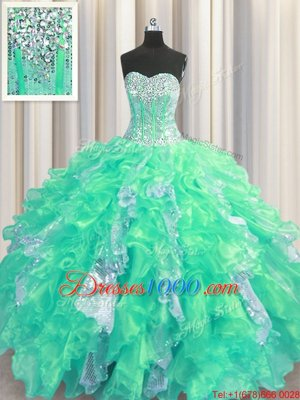 Popular Turquoise Sweetheart Neckline Beading and Ruffles and Sequins Sweet 16 Quinceanera Dress Sleeveless Lace Up