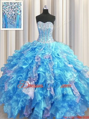Dazzling Sequins Visible Boning Floor Length Ball Gowns Sleeveless Baby Blue Ball Gown Prom Dress Lace Up