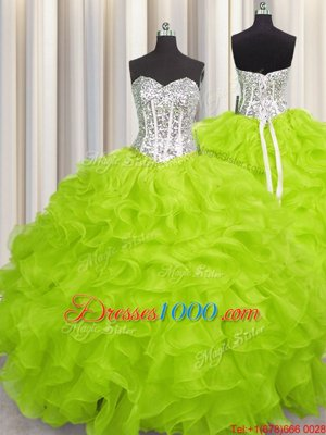 Sexy Handcrafted Flower Yellow Green Ball Gowns Sweetheart Sleeveless Organza Floor Length Lace Up Beading and Ruffles and Hand Made Flower Ball Gown Prom Dress