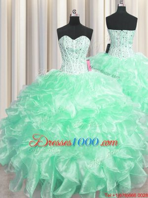Visible Boning Floor Length Zipper Vestidos de Quinceanera Apple Green and In for Military Ball and Sweet 16 and Quinceanera with Beading and Ruffles