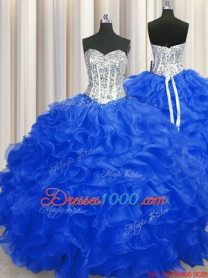 Organza Sweetheart Sleeveless Lace Up Beading and Ruffles Quinceanera Gown in Gold