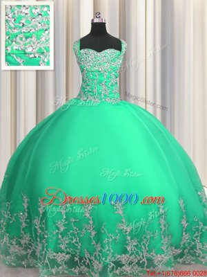 Charming Organza Sleeveless Floor Length Sweet 16 Dress and Beading and Appliques
