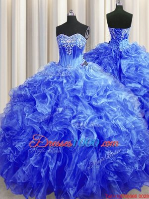 Royal Blue Lace Up Quince Ball Gowns Beading and Ruffles Sleeveless Sweep Train