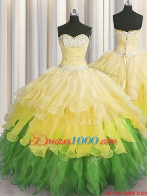 Floor Length Lace Up Sweet 16 Dress Lavender and In for Military Ball and Sweet 16 and Quinceanera with Beading and Ruffles and Pick Ups