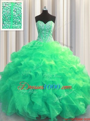High Quality Visible Boning Turquoise Lace Up Sweetheart Beading and Ruffles 15 Quinceanera Dress Organza Sleeveless