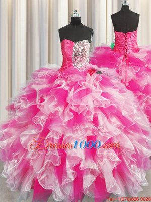 Superior Floor Length Ball Gowns Sleeveless Pink And White Quinceanera Dresses Lace Up