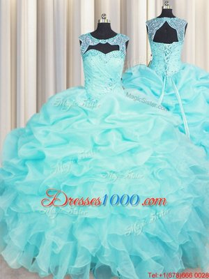 Sleeveless Floor Length Beading and Ruffles Lace Up Sweet 16 Dress with