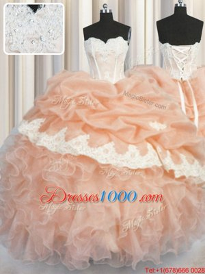 Comfortable Organza Sweetheart Sleeveless Lace Up Appliques and Ruffles and Pick Ups Ball Gown Prom Dress in Peach