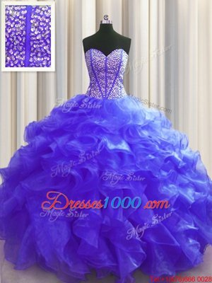 Flirting Visible Boning Floor Length Lace Up Quinceanera Gowns Purple and In for Military Ball and Sweet 16 and Quinceanera with Beading and Ruffles