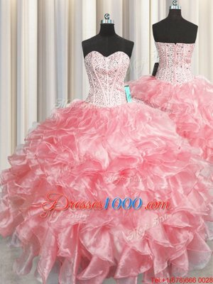 Visible Boning Zipper Up Organza Sweetheart Sleeveless Zipper Beading and Ruffles Ball Gown Prom Dress in Baby Pink