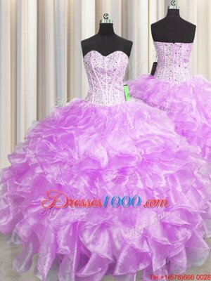Fabulous Visible Boning Zipper Up Sleeveless Beading and Ruffles Zipper Ball Gown Prom Dress