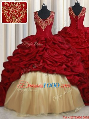 On Sale Red Taffeta Lace Up Quinceanera Gown Sleeveless Sweep Train Beading and Appliques and Pick Ups