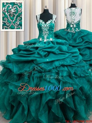 Pretty Straps Straps Teal Sleeveless Beading and Ruffles and Pick Ups Floor Length Sweet 16 Dress