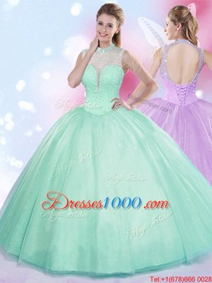 Floor Length Ball Gowns Sleeveless Apple Green Quinceanera Gowns Lace Up