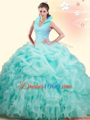 Apple Green High-neck Backless Beading and Ruffles and Pick Ups Quinceanera Dresses Brush Train Sleeveless
