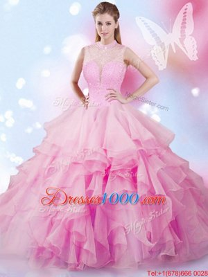 Clearance Lavender Sleeveless Tulle Lace Up Sweet 16 Dress for Military Ball and Sweet 16 and Quinceanera