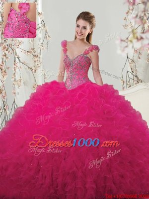 Straps Straps Beading and Ruffles and Hand Made Flower Sweet 16 Quinceanera Dress Hot Pink Lace Up Sleeveless Floor Length