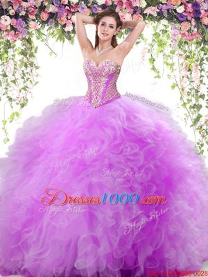 Attractive Lilac Quince Ball Gowns Military Ball and Sweet 16 and Quinceanera and For with Beading and Ruffles Sweetheart Sleeveless Lace Up