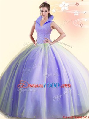 Fabulous Ball Gowns Quinceanera Gowns Lavender High-neck Tulle Sleeveless Floor Length Backless