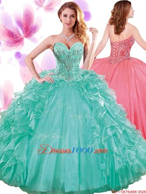 Adorable Blue Organza Backless High-neck Sleeveless Quince Ball Gowns Brush Train Beading and Ruffles and Pick Ups